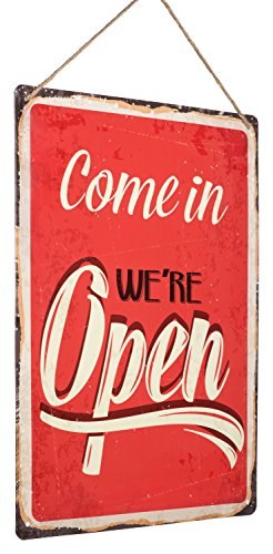 """in Metal Sign - """"Come in We're Open"""" – Distressed, Reproduction, Retro, Door Sign, Wall Decor ()"""