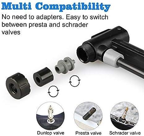 Sayla Fahrradpumpe,Tragbare Mini-Fahrradreifenpumpe aus Kompatibel mit Universal Presta und Schrader Frame Mounted Air Pump f/ür Road,Mountain und BMX-Bikes