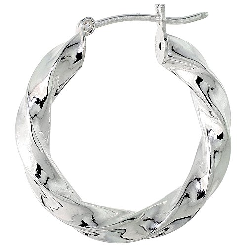 (Small Sterling Silver Italian Hoop Earrings Twisted Square Thick Tube 7/8 inch)