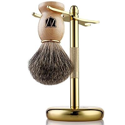 Miusco Men's Shaving Set, Safety Razor, Badger Hair Shaving Brush, Shaving Stand