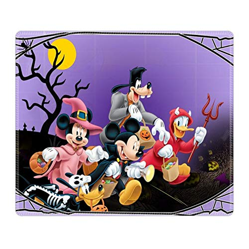 Mouse Pad Rectangle Stitched Edges Halloween Mickey Mouse and Minnie Mouse Goofy Donald Duck Pluto Disney Halloween Wallpaper Full Body -