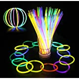 Glowz Glow Sticks Glow In The Dark Premium Bracelets (Mixed Colours) 100 Pack - Neon UV Accessories For Girls or Boys