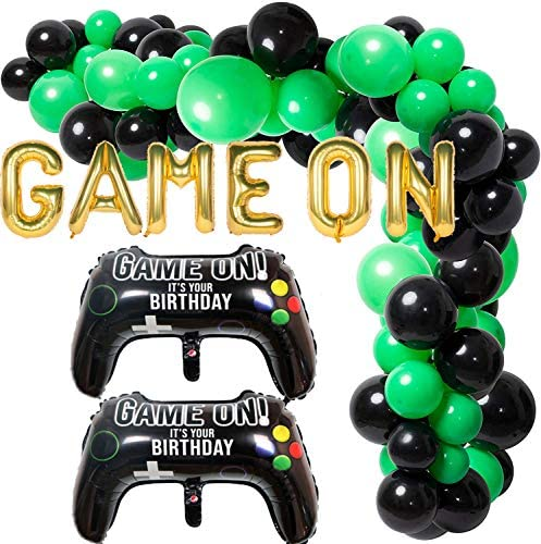 Yizeda 110 Pcs Balloon Garland Arch Kit for Video Game Party Game On Birthday Party Decoration Supplies Green Black Latex Balloons Game Controller Foil Balloon
