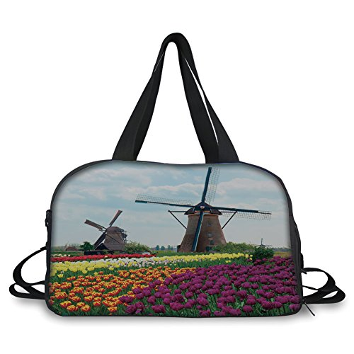 (iPrint Travel Handbag,Windmill Decor,Bedding Plants of Netherlands Farm Country Heritage Historical Architecture,Multicolor ,Personalized)