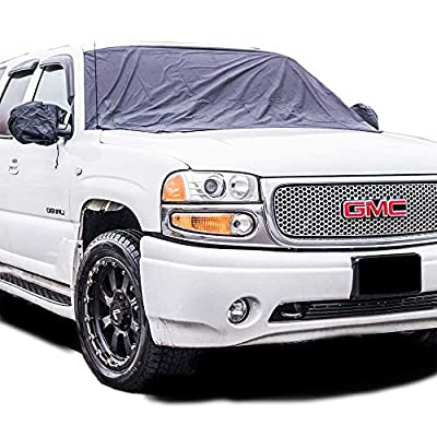 """Magnetic Windshield Snow & Ice Cover Screen – Best For Full Protection, Sun Shade- Universal Fitment For Cars, Vans, SUVs, Trucks (82.6"""" x 47.2"""") - Including Extra Long Ropes+Free Mirror Covers"""