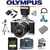 Olympus OM-D E-M5 Mark II W/ 12-50mm Lens + Olympus FL-LM3 Flash, 64GB Deluxe Kit OMD EM5 OMDEM5 O-MD EM-5 OM-D MII M2 (Silver)
