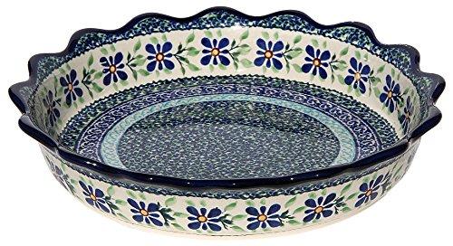 Polish Pottery Quiche / Scalloped Pie Dish From Zaklady Ceramiczne Boleslawiec #1765-du121 Unikat Pattern, Diameter: (Scalloped Pie Dish)