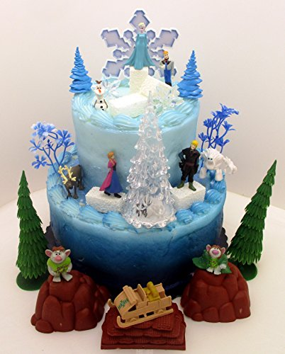 Frozen 23-Piece Elsa and Anna Birthday Cake Topper Set, Contrasting Spring Arendelle with Frozen Arendelle -