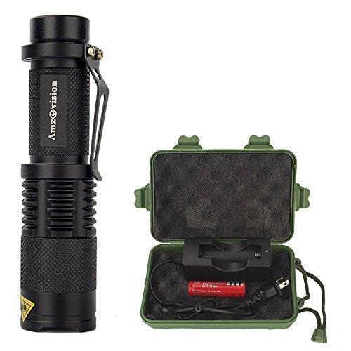 Mini Flashlight, Amz vision Brightest LED Flashlight Torch, 5 Modes, Adjustable Focus Zoomable Tactical Flashlight