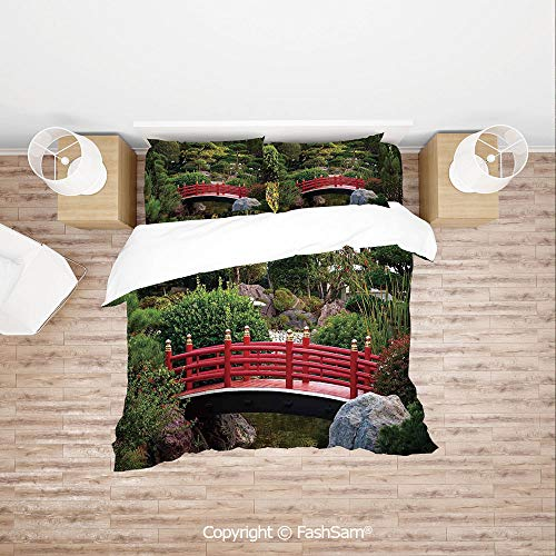 FashSam Duvet Cover 4 Pcs Comforter Cover Set Tiny Bridge Over Pond Japanese Garden Monte Carlo Monaco Along with Trees and Plants Decorative for Boys Grils Kids(Queen)