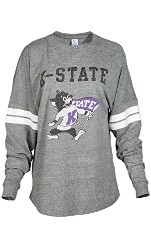 NCAA Kansas State Wildcats Betty Long Sleeve Tri-Blend Football Jersey T-Shirt, Large, Tri Grey/White College Cotton Fabric