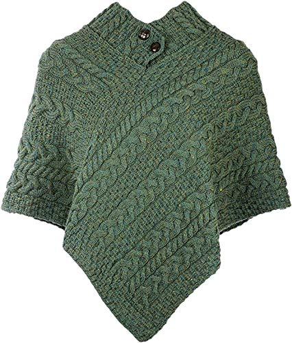 Carraig Donn Cable Poncho With Aran Button Detail, Forest Green - Irish Poncho