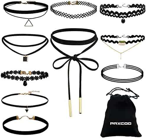 Paxcoo 10 Pieces Choker Necklace for Women Girls, Black Classic Velvet Stretch Gothic Tattoo Lace