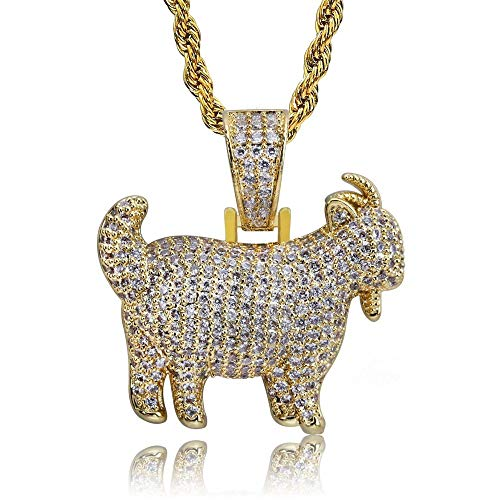 AOVR Hip Hop Cuban Link Chain 14k Gold Plated CZ Crystal Bling Bling Fully Iced-Out Dog Tag Pendant