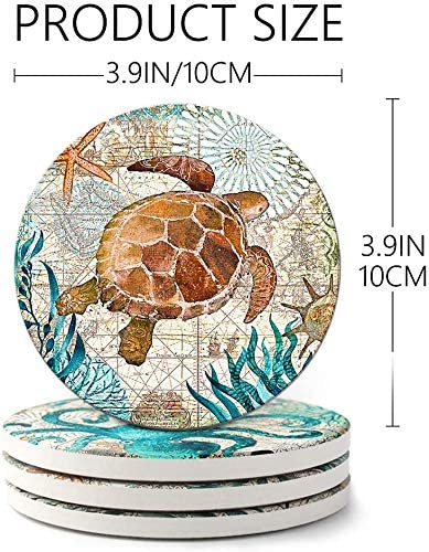 Sea Ocean Life Coasters Housewarming Gift Style Meditation Coasters Coasters for Drinks Absorbent with Holder Stone Coaster with Cork Backing Set of 6 Great Home and Dining Room Decor