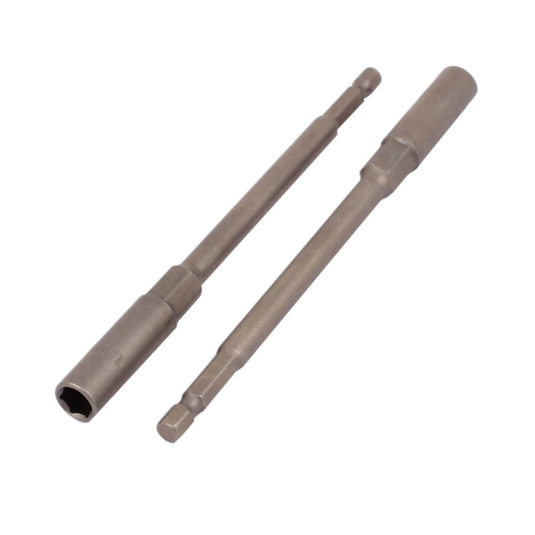 Sourcingmap a16050500ux0883 150 mm Long 8 mm Hex Socket Magnetic Nut Driver Set Adapter Drill Bit - Grey (2-Piece)