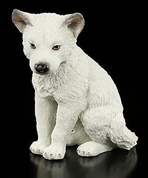Süße Wolfbaby Figur Weiß Sitzend Veronese Wolf Baby Deko