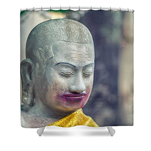 Pixels Shower Curtain (74'' x 71'') ''Kissing Buddha Angkor Wat '' by Pixels