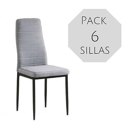 Mobelcenter - Pack 6 Sillas Comedor Yuri (0864) - Gris + Envío ...