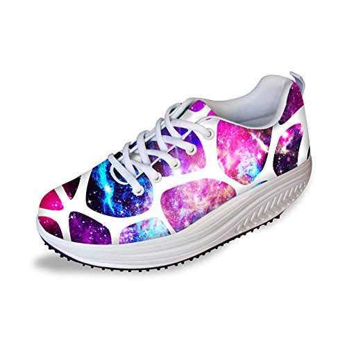För U Designar Sval Galax Print Womens Komfort Kilar Plattform Promenadskor Lila B