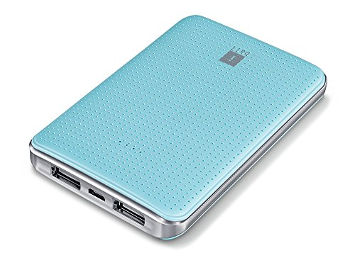 iBall Portable Slim Power Bank with Dual USB Port and 5000mAh Rechargeable Battery  Sea Blue