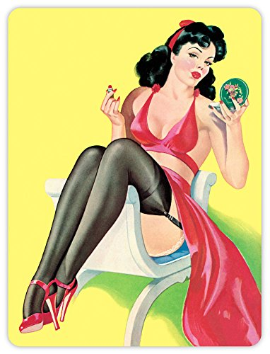 Lavish Lipstick - Pinup pin up pin-up sexy retro girl is applying lipstick lips sticker decal 4