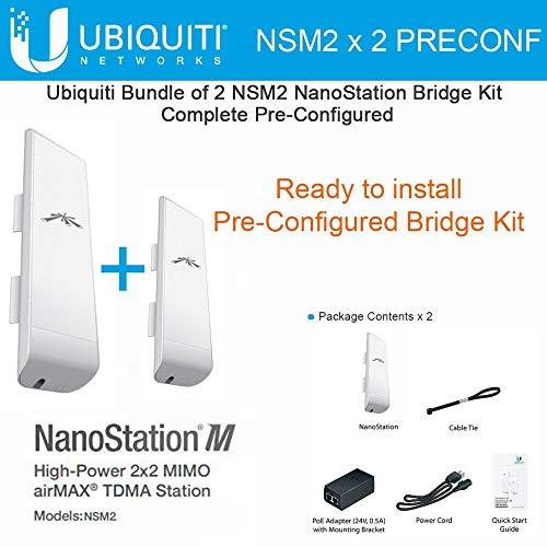 (Ubiquiti NSM2 X 2 Units Nanostation M2 Bridge Kit Complete Pre-Configured)