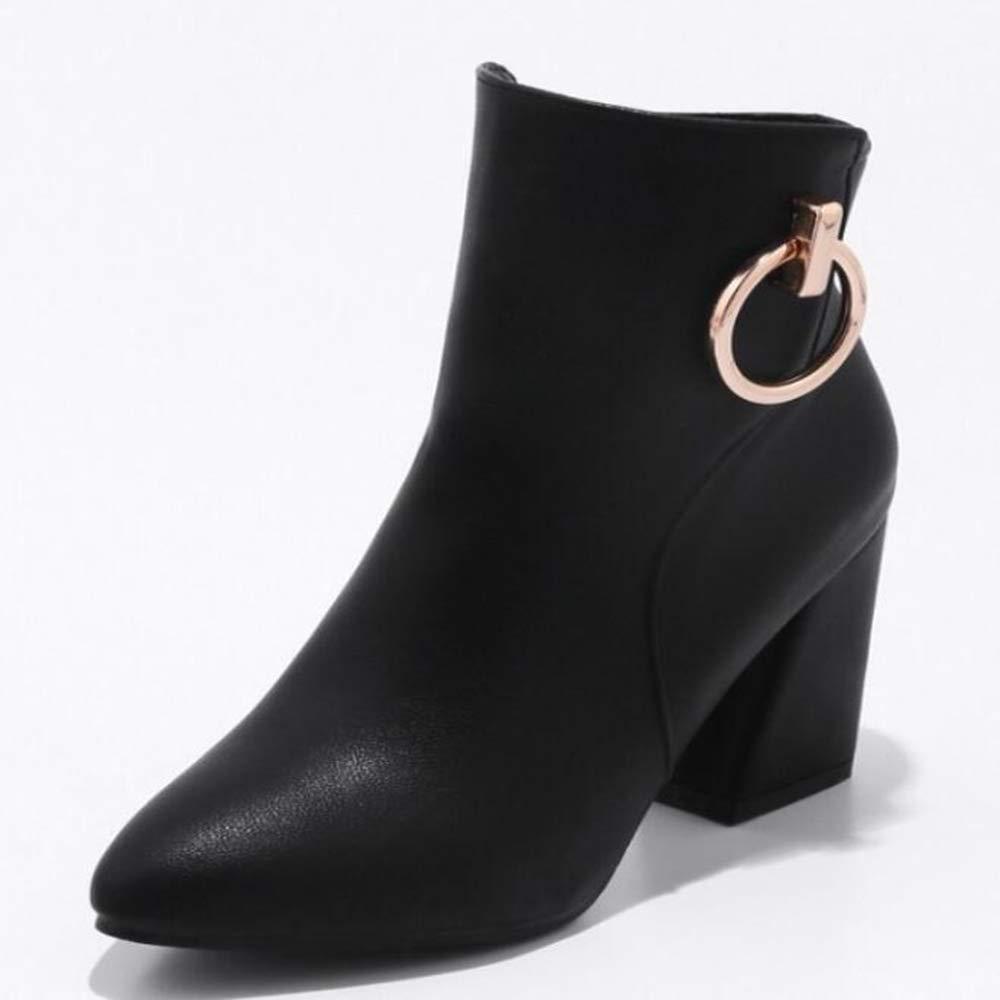 CITW Damenstiefel Metal Schnüffeln Großformat Stiefel Frauen Herbst Und Winter Spitz Damenschuhe Martin Stiefel,schwarz,UK1 EUR35
