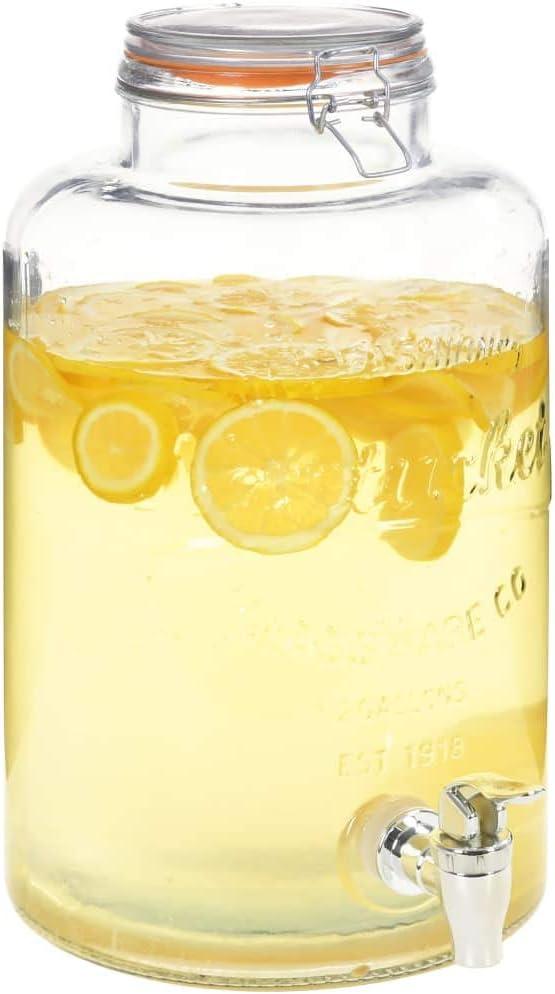 Festnight Dispensador de Agua XXL con Grifo Vidrio Transparente 8 L / 18,7 x 36 cm, contenedor de Vidrio, Dispensador de Cristal: Amazon.es: Hogar