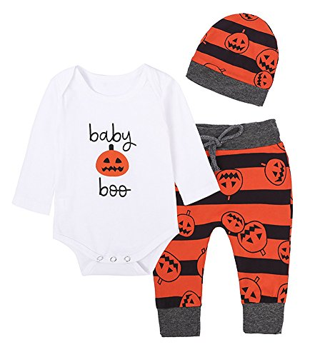 LLIOFUS Girls Boys 3PCS Newborn Infant Baby Pumpkin Halloween Romper Outfits (Formal Cosplay Ideas)