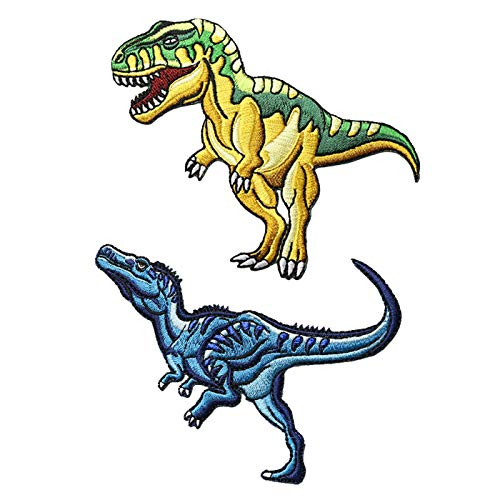 2 Pcs T-Rex & Velociraptor Dinosaur World Iron On Patches, Jurassic Tyrannosaurus Rex Sew On Applique Patch,Cool Dinosaur Park Embroidered Patches, for Men, Women, Boys, Girls, Kids - SO Cool!