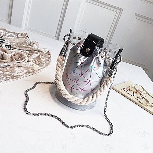 Sac tout Package Sac fourre Transparent Color Silver KLXEB poche Sac Tide de document Seau magnétique femelle diagonale téléphone Summer portable pour Fermeture Package qSnP86xYn
