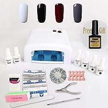 Nail Gel Polish Starter Kit 4 Vishine Colours Soak Off Gel Polish + Top Base Coat + 36W UV Lamp + Nail Art Accessories Set + Removers & 1 FREE MATTE TOP COAT Manicure K005