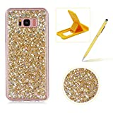 Glitter Case for Galaxy S8 Plus,Rubber Cover for Galaxy S8 Plus,Herzzer Ultra Thin Slim Luxury Pretty [Gold Sequins] Sparkle Diamond Soft Gel Silicone Clear Bumper Back Cover
