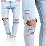 Carlos Foushee Men'S Trousers Slim Pant Skinny Runway Straight Elastic Denim Pants Ripped Jeans Sky Blue 28