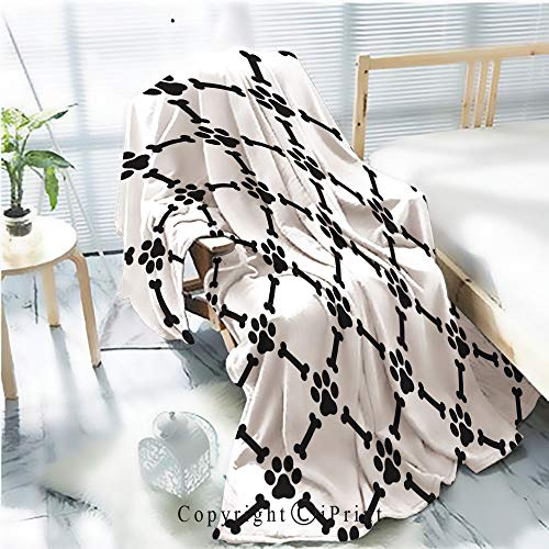 Printed Throw Blanket Smooth and Soft Blanket,dog paw seamless pattern dog bone vector wallpaper isolated background white For Sofa Chair Bed Office Travelling Camping,Kid Baby,W31.5