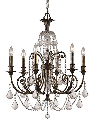 Crystorama 5116-EB-CL-MWP Crystal Accents Six Light Chandeliers from Regis collection in Bronze/Darkfinish,