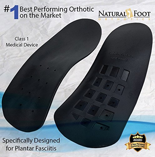 Natural Foot Orthotics Slim Stabilizer Insoles for Plantar Fasciitis - I - Men's 7-7.5 / Women's - Usa Flat