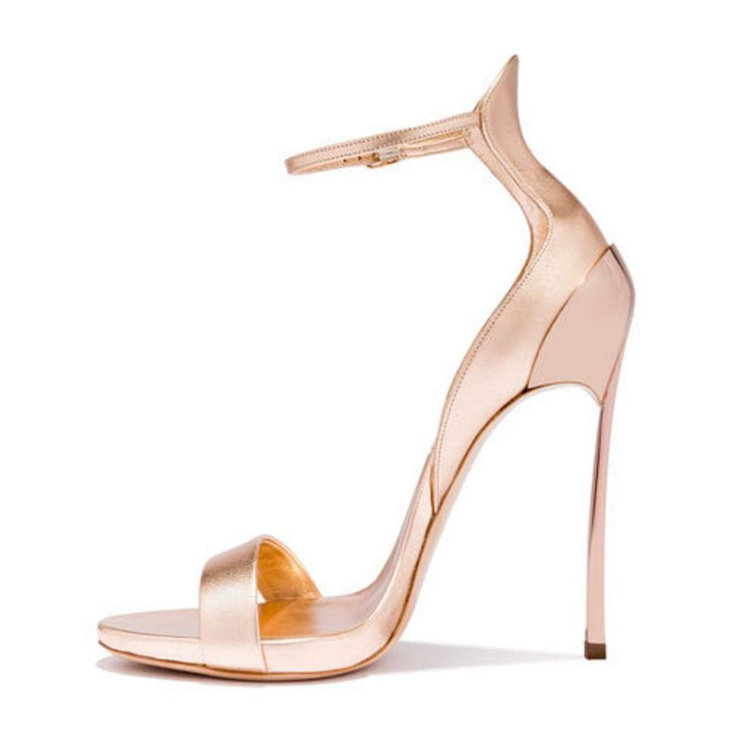 Champagne color QianQianStore Size 33-43 Supper High Heel Sandals Ankle Strap Thin Heel Platform Ladies Summer Sexy