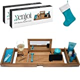 - This ONE HAS A Mirror - Our Luxury Bamboo Bathtub Tray/Bathtub Caddy with Mirror Also Comes with Extending Non Slip Sides, Wine Glass Holder, 2 Removable Storage Shelves & Much More