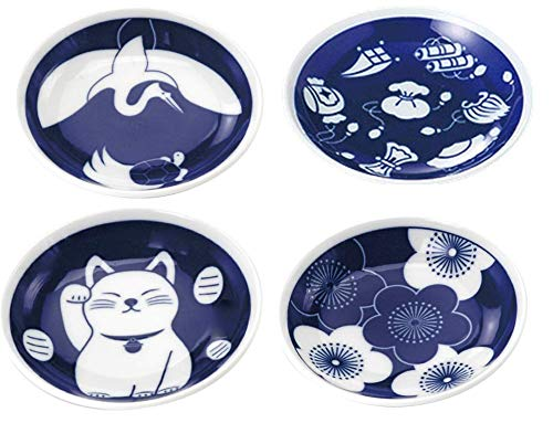 Japanese Ceramic blue and white plate set, appetizer, dessert, sushi sauce 3.94