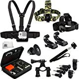 SSE® Accessory Kit for GoPro HERO+, HERO4 Session, HERO4, HERO3+, HERO3 (Black, Silver & White), HERO & HERO+ LCD. Includes Chest Mount + Head Strap + Camouflage Head Strap + Selfie Monopod + Premium Rugged Hard Case + Tripod Adapter + 2 Vertical Surface J-Hook Buckle Mount + More
