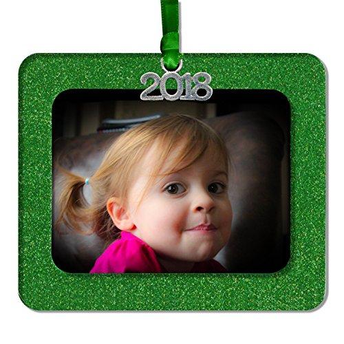 - 2018 Magnetic Glitter Christmas Photo Frame Ornament Non Glare Photo Protector, Horizontal - Green
