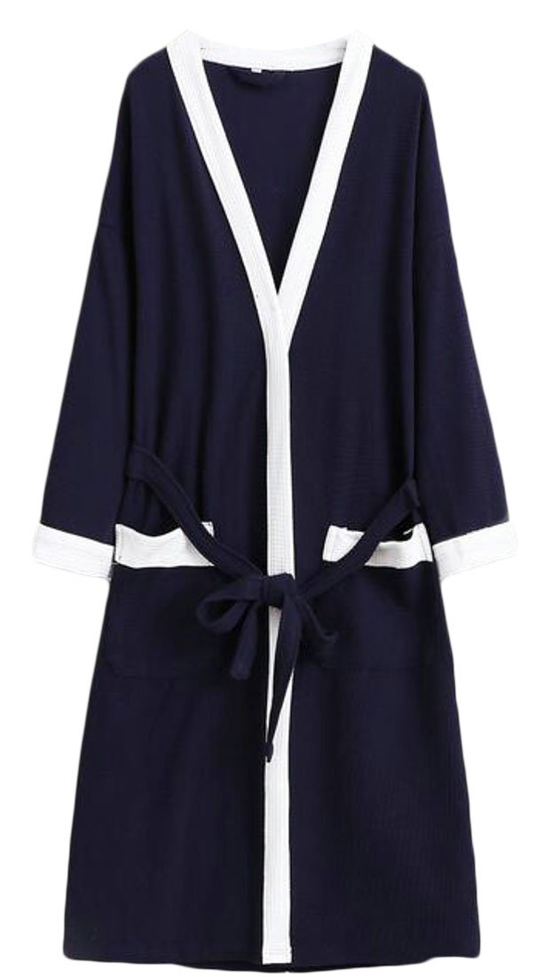 Cromoncent Mens Hotel Cotton Homewear Bathrobe Spa Waffle Kimono Comfort Robe Navy Blue2 Large by Cromoncent