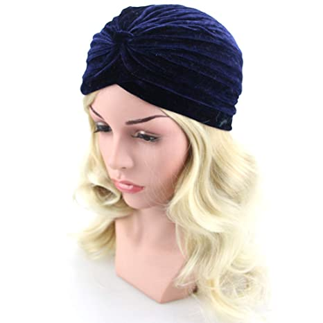 FlYHIGH Hat Womens Stretchy Turban Hat Chemo Cap Bandana Hijab Pleated Solid Color Head Wrap