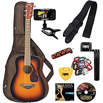 Yamaha JR2 3/4 Size Acoustic Guitar with Gig Bag and Legacy Accessory Bundle