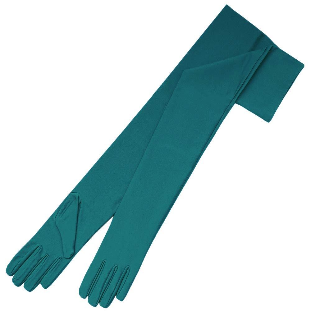 ZaZa Bridal 23.5'' Long 4-Way Stretch Matte Finish Satin Dress Gloves Opera Length 16BL-Teal