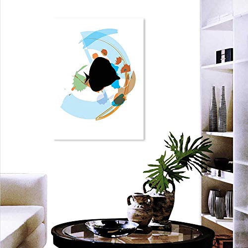Anyangeight Fish Fashion Stickers Wall Silhouette a Discus Cichlid in a Partly Illustrated Bowl Cartoon in Pastel Colors Stickers Wall Home 32