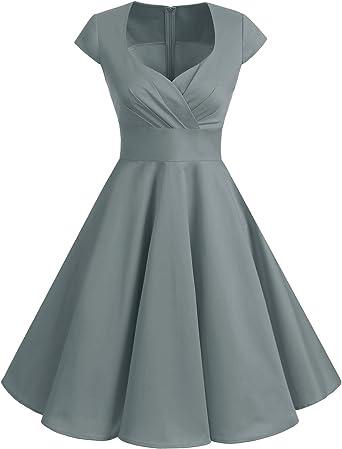 TALLA S. Bbonlinedress Vestido Corto Mujer Retro Años 50 Vintage Escote Grey S