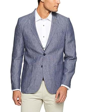 Oxford Men Larkin Linen Stripe Blazer, Navy, Large